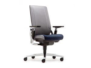 chrome blue grey office chair